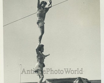 Young girls aerilaist Ringling Bros circus antique photo