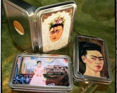 Set of Three (3) of Handmade Tins / Trinket Boxes with Frida Kahlo's Paintings