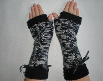 Handknitted rainbow color  with black accent color women fingerless gloves / wrist warmers Victorian style