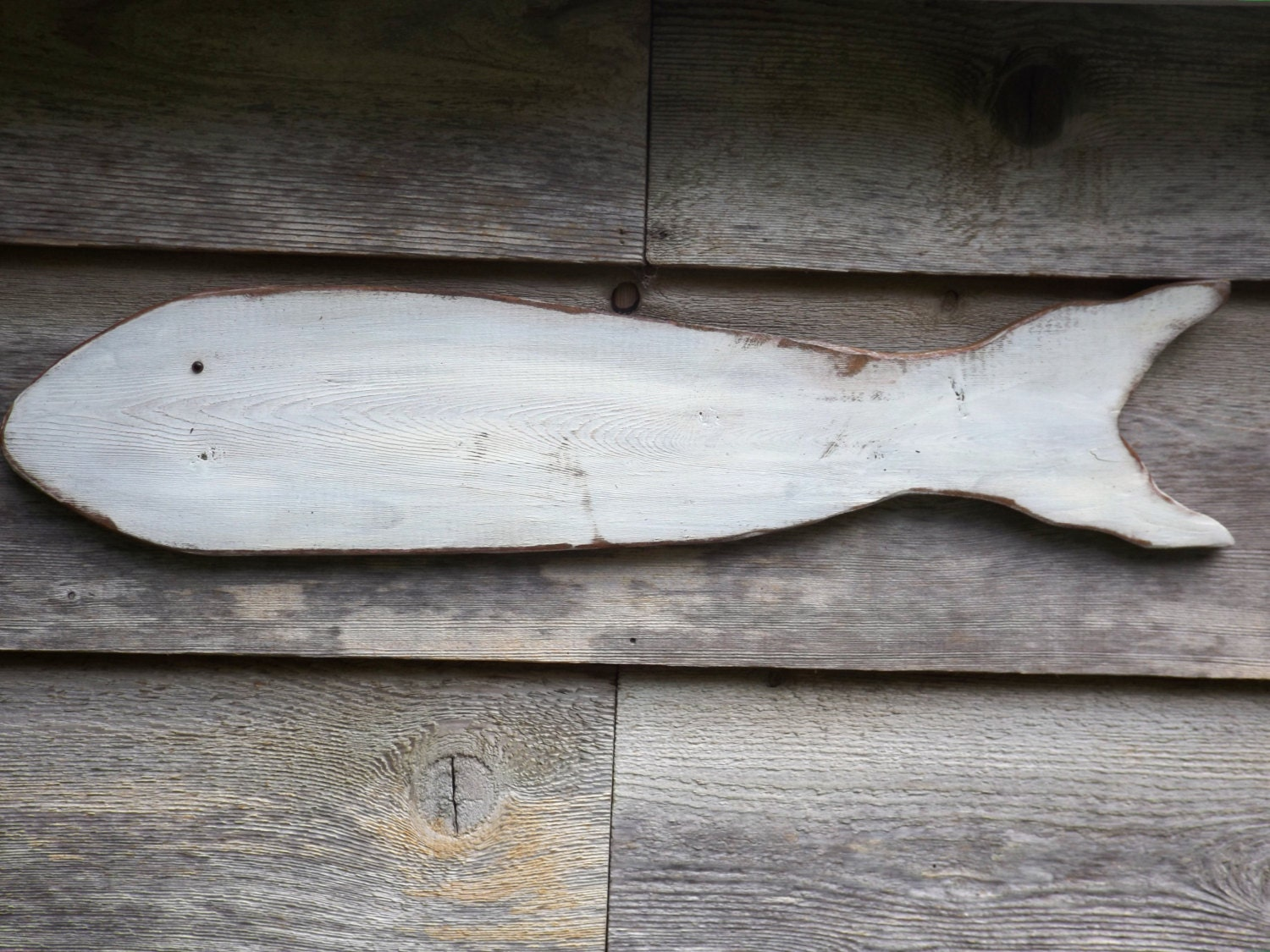 Wall Art Wood Fish : Reclaimed wood fish white wall art wooden by