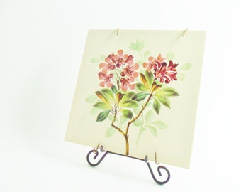 Ceramic Tile Trivet, Aubergine Pinks Green, Wall Decor with Hanger, Shabby and Chic or Cottage Decor,  Floral Ceramic Tile Trivet, Hot Pad
