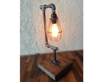 edison trouble light desk lamp vertical pipe reclaimed wood. Black Bedroom Furniture Sets. Home Design Ideas