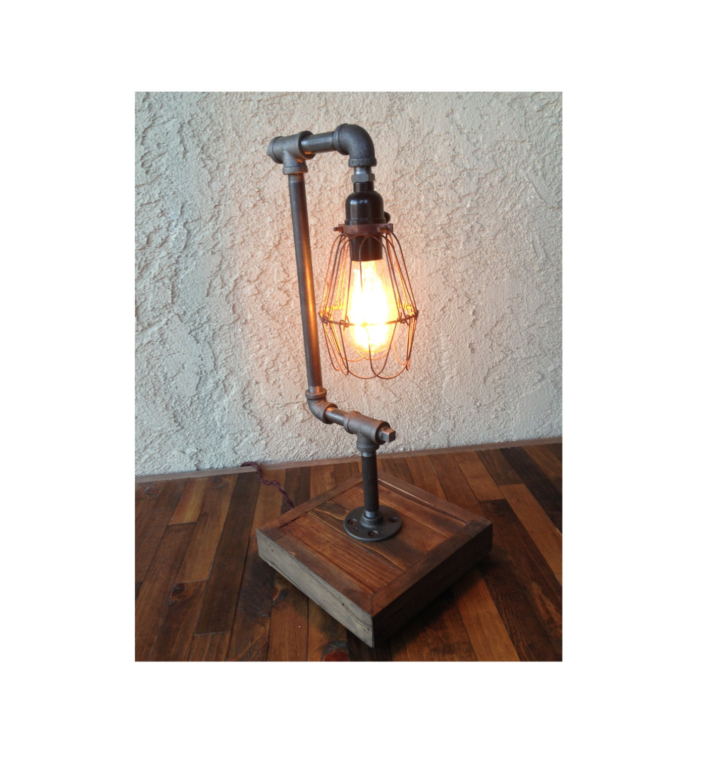 edison desk lamp bulb included steel pipe reclaimed wood. Black Bedroom Furniture Sets. Home Design Ideas