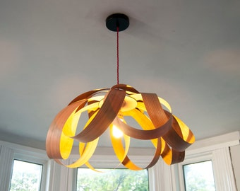 Petal dining room pendant lampshade (cherry wood)