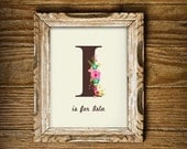 Floral Monogram Print for a Baby Girl's Nursery - Personalized Monogram - Nursery Art - Editable Instant Download and Edit with Adobe Reader