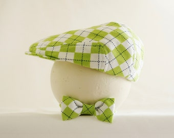 Green argyle newsboy hat and bow tie set, baby boy photo prop set, flat cap and bow tie - made to order