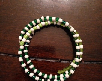 Handbeaded Coiled Green and White Bracelet All Profits Go To Charity