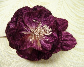 Plum Wine Velvet Rose Millinery Flower for Hats, Corsage, Crafts, Hair Clip 3FN0080AU