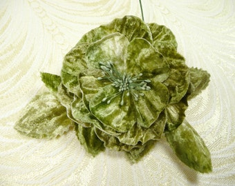 Beige Moss Sage Green Ombre Velvet Rose Millinery Flower for Hats, Corsage, Crafts, Hair Clip