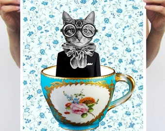 Cat In A Cup : Art Print Poster A3 Illustration Giclee Print Wall art Wall Hanging Wall Decor Animal Painting Digital Art