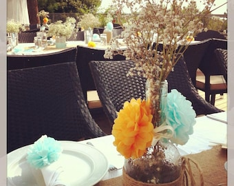 1 x Paper Pom Place Setting/Napkin Ring - Choice of Colours - Weddings - Parties