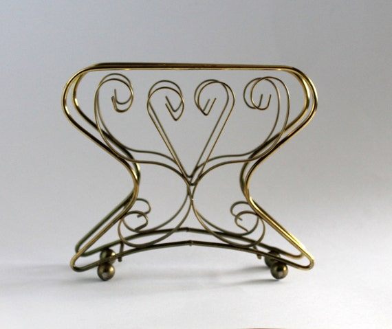 Napkin or letter holder gold metal scroll vintage for Gold letter rack