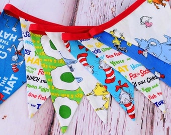 Dr. Seuss fabric bunting - banner - Dr. Seuss cake smash banner - Dr. Seuss birthday party decoration