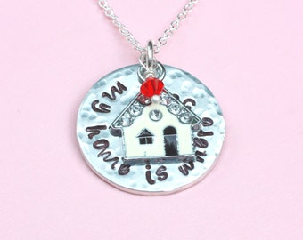 Mother necklace, wife necklace, My home is where you are, little house necklace, home sweet home necklace, anniversary gift for wife