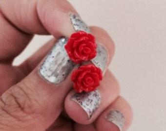 Red Rose Flower Earrings Post Studs