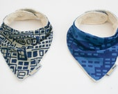 Bandana Bib -Blue cotton fronts with soft Bamboo backing  - set of 2