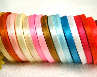 15 Rolls Mixed Colors Satin Ribbons 6mm / 1/4"