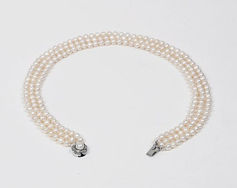 White Freshwater Triple strand Pearl Necklace, 8.0 to 9.0mm, AAA, round