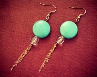 Stardust // Turquoise Earrings // Chandelier Earrings // Chain Earrings // Fringe Earrings // Boho Earrings // Summer Earrings
