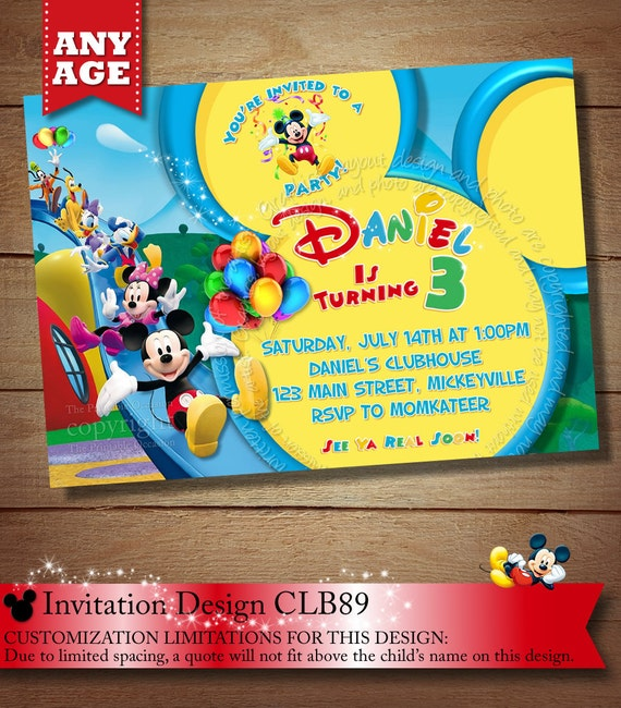 Mickey Mouse Clubhouse Invitations Mickey Mouse Clubhouse