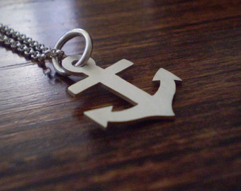anchor pendant - sterling silver - nautical jewellery