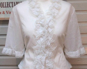 1950's Vintage White Blouse with Frills