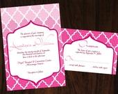 Printable DIY Moroccan Quatrefoil Wedding Invitation No.95 -  Pink Blue Green Orange Purple Yellow