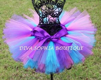 Pretty Pink, Purple and Turquoise Tutu - Birthday Tutu