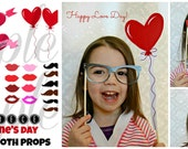 INSTANT DOWNLOAD Valentines Day 43 piece Photo Booth Props PRINTABLE Download - Craft Decoration Party diy
