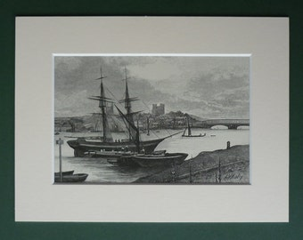 1886 Antique Nautical Print - Available Framed - Antique Art - Sailing Ship Decor - Matted Print - Fishing Boats - Victorian Nautical Art