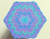 Polymer Clay Cane - LARGE Blue, Green, Purple, and White Hexagon Polymer Clay Cane