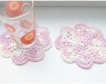 Set of 2 handmade small doilies, coaster, doily pastel multicolours, pink, ivory, purple, cotton  home decor