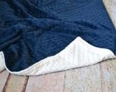 Navy and White Blanket - Ultra Soft Minky Blanket - Navy and White Personalized Baby Blanket
