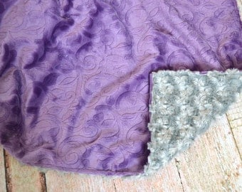 Violet Vine and Gray Blanket - Ultra Soft Baby Blanket - Purple and Gray Personalized Baby Blanket