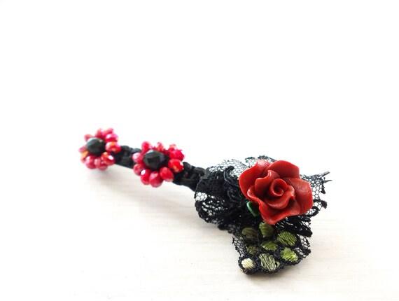 Lace Rose Hair Pin, Flower Hair Pin, Crystal Flowers Bobby Hair Pin, Hairpin, Faceted Crstals Hair Pin, Red Black Hair Pin, Hair Accessory