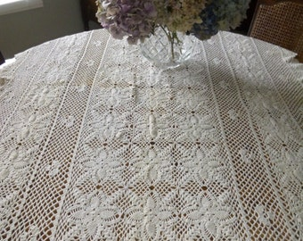 Handmade Crocheted Kingsize Ivory Bedthrow or Tablecloth 94 in x 58 in
