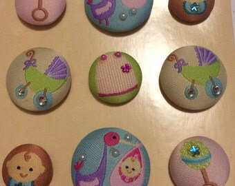 Baby Fabric Covered Decorative Magnets