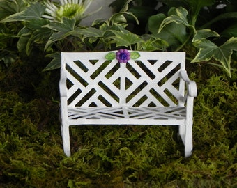 Fairy Garden Furniture Bench metal white miniature accessories with purple glitter flower