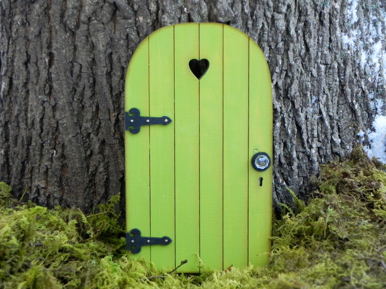 Fairy Door Fairy Garden Miniature Wood Citrus Green With Black