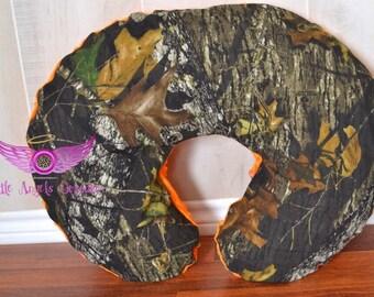 Mossy Oak Camo and Orange Minky Boppy Pillow Cover