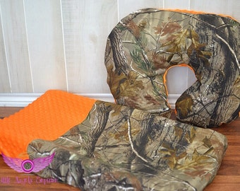 Real Tree Camo and Orange Changing Pad Cover and Boppy Pillow Cover Set- Realtree