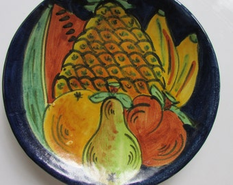Mexican Pottery Plate Decorative Fruit Bright Vivid Colors