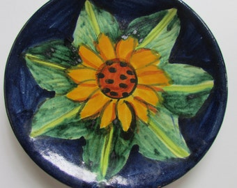 Mexican Pottery Hand Painted Decorative Plate Sunflower