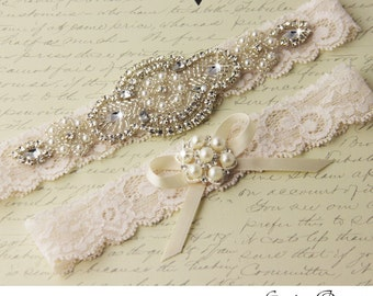 Lace Wedding Garter, Wedding Garter Set, Rhinestone Garter, Ivory Garter, Vintage Bridal Garter, Keepsake Garter, Toss Garter
