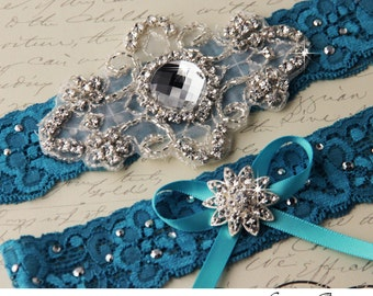 Bridal Garter TURQUOISE Wedding Garter Set Something Blue Stretch Lace Keepsake and Toss Garters, Rhinestone and Crystal garters