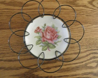 Shabby Chic Hand Painted Rose Plate