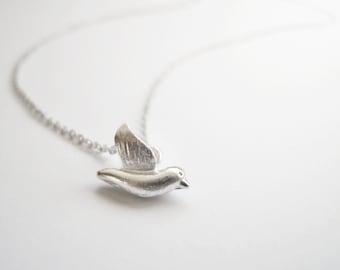 Delicate cute silver bird necklace