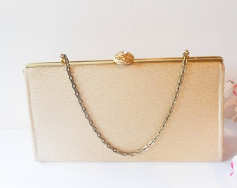 Gold Evening Bag Vintage Gold Metallic Handbag EB-0301
