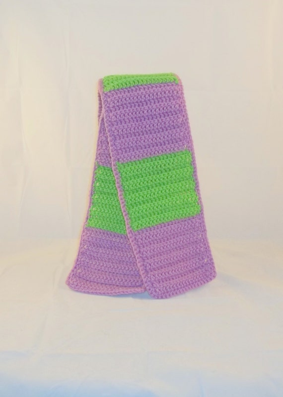 Crocheted Color Block Lime Green and Purple Adult Sized Long Scarf