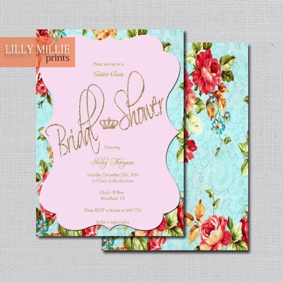 Vintage Floral Glam Bridal Shower Invitation › Baby Shower › Birthday Party Invitation - Digital Printable or Printed 51
